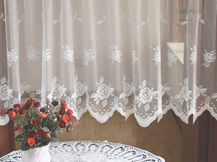 Floral Check White Lace Sheer Net Kitchen Cafe Curtain