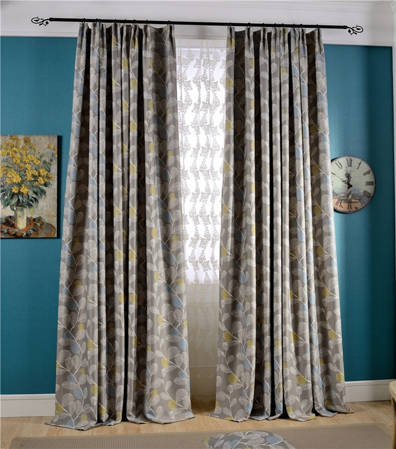 2xcustom leaf floral grey brown blockout blackout curtain cottage victorian ebay. Black Bedroom Furniture Sets. Home Design Ideas