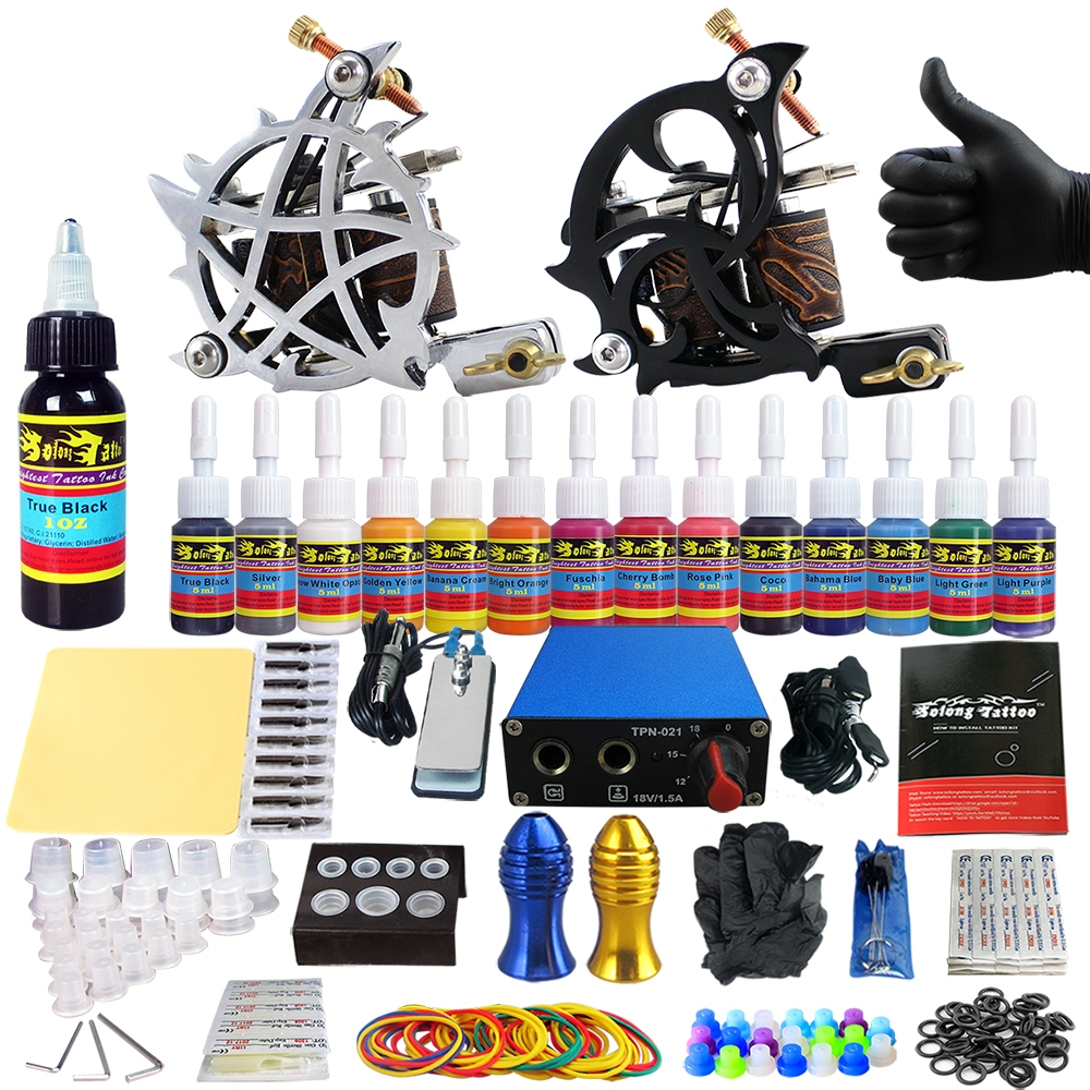 Solong tattoo kits 2 tattoo machine guns 14 ink power for Tattoo supplies ebay