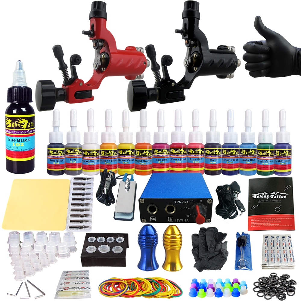 Solong tattoo kits tattoo machine guns set ink power for Tattoo supplies ebay