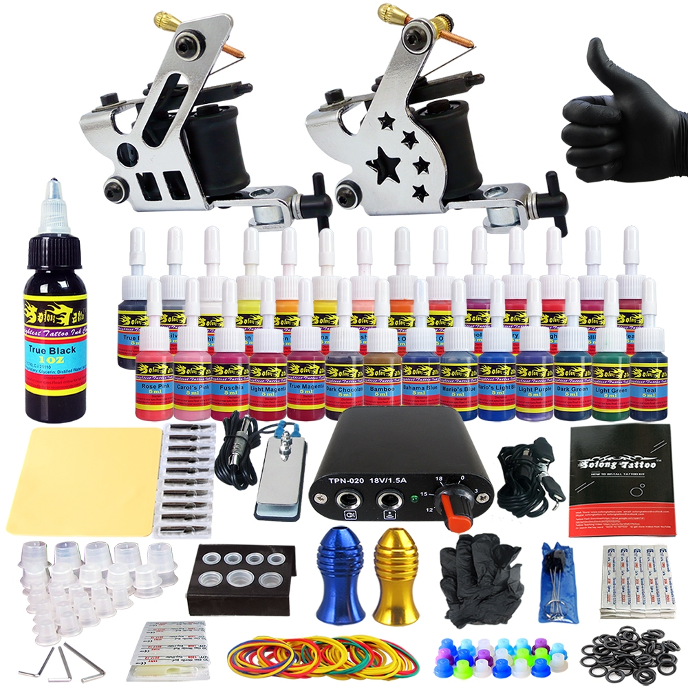 Beginner tattoo kits tattoo machine guns ink set power for Tattoo supplies ebay