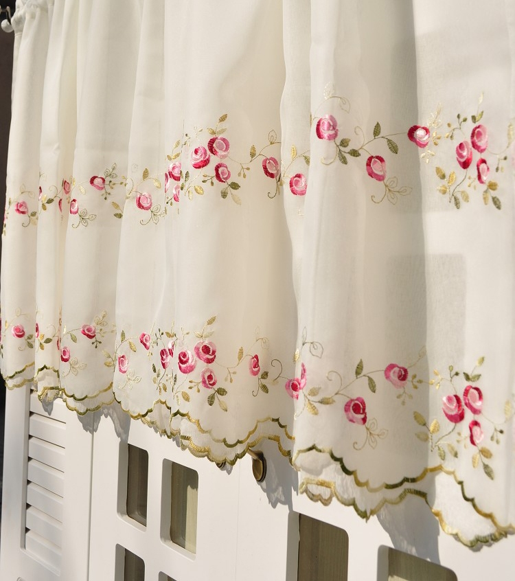 Floral Embroidered Sheer Net Kitchen Cafe Curtain Tier