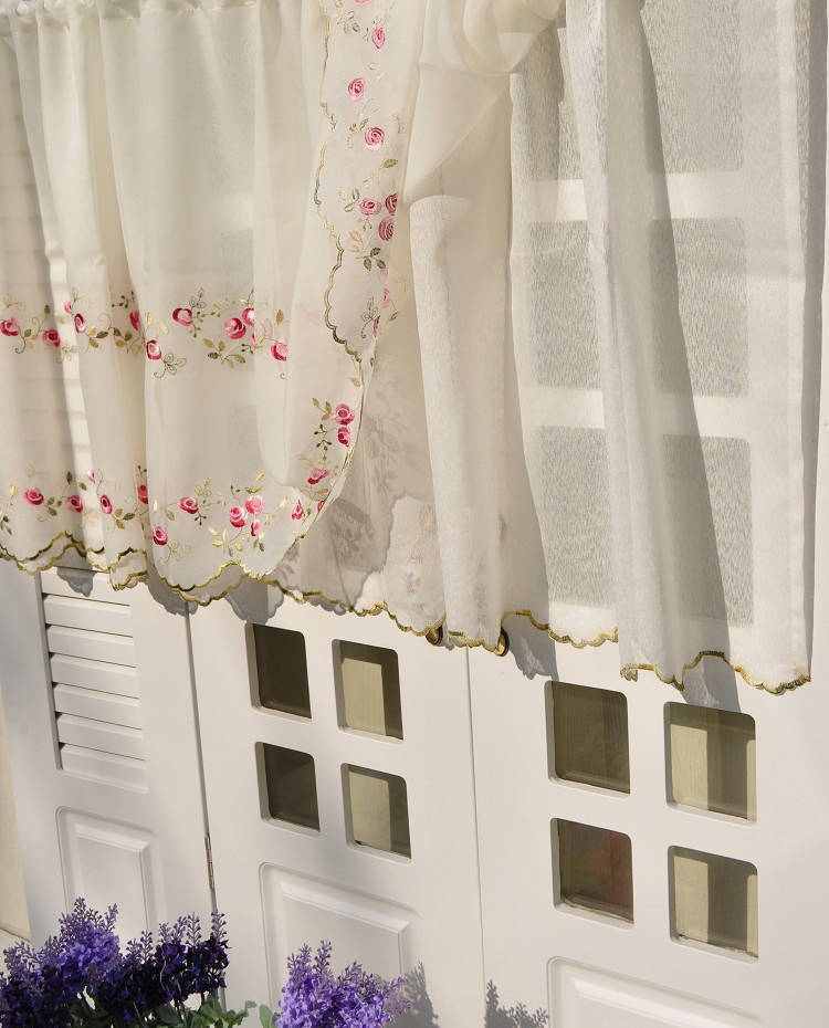 Country Cottage Kitchen Curtains: Floral Embroidered Sheer Net Kitchen Cafe Curtain Tier
