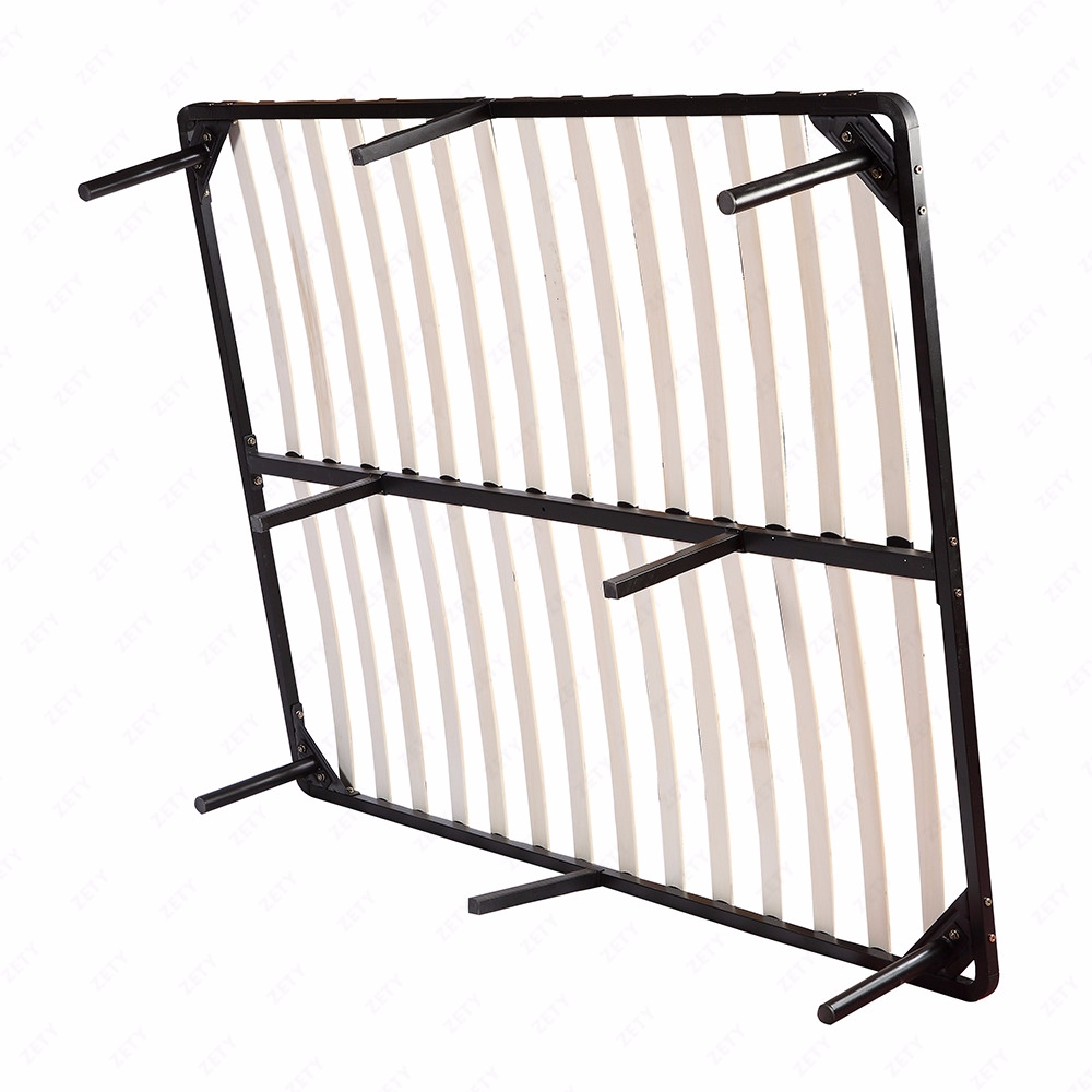 Bedroom Wood Slats Metal Bed Frame Platform Mattress