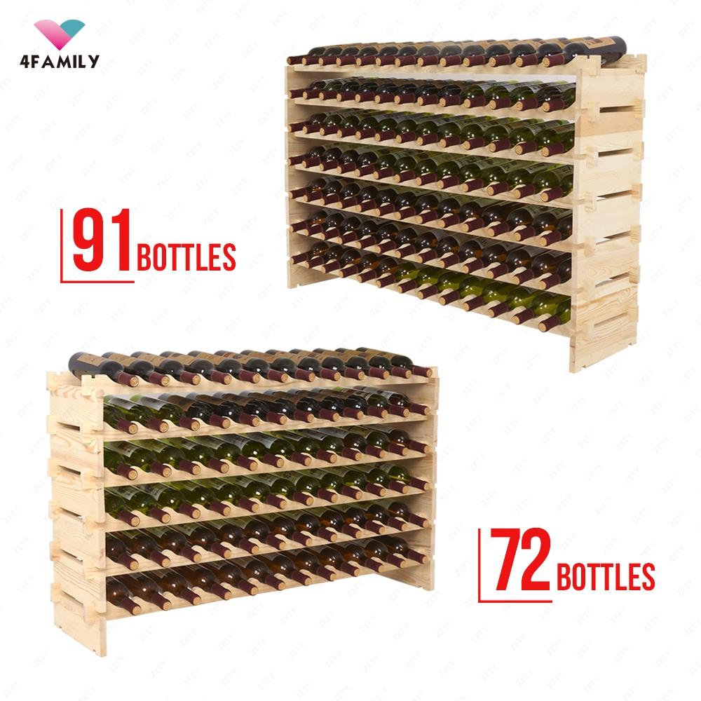 20/36/72/91 Bottle Solid Wood Wine Rack Holder Stackable Storage Display Shelves