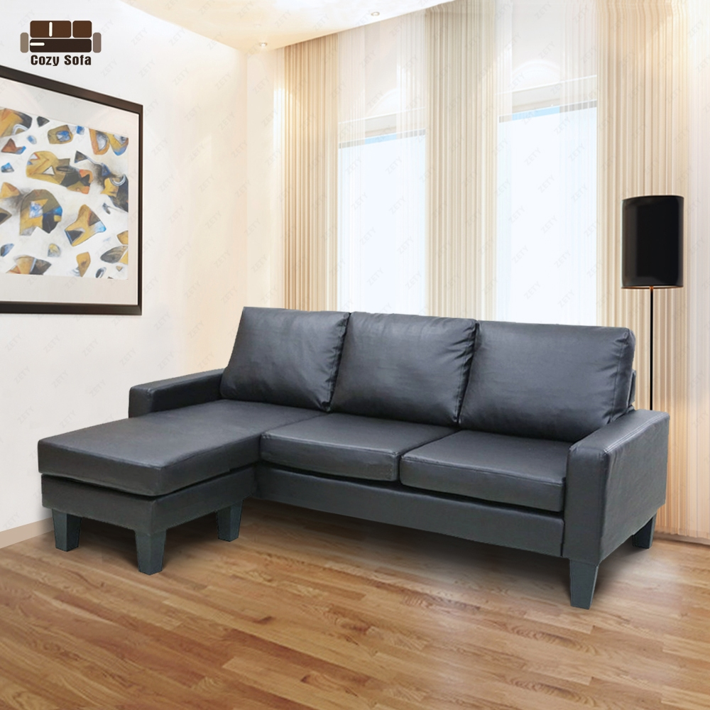 Reversible Corner Sectional Sofa Leather Loveseat Lounge