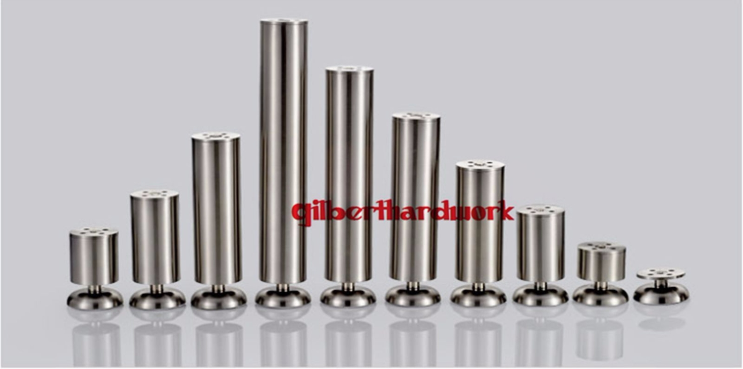 Stainless Steel Cylindrical Cabinet Legs Adjustable Bed Table Sofa Leg