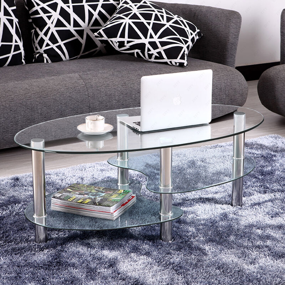 Glass Coffee Table For Sale On Ebay: Clear Glass Coffee Table Oval Side Chrome Base W/Shelves