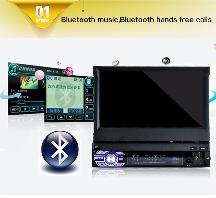 7 39 bluetooth auto st r o radio 1 din usb cran tactile r tractable touch screen ebay. Black Bedroom Furniture Sets. Home Design Ideas