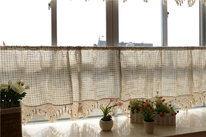 Check Linen Kitchen Cafe Curtain Tier Valance French