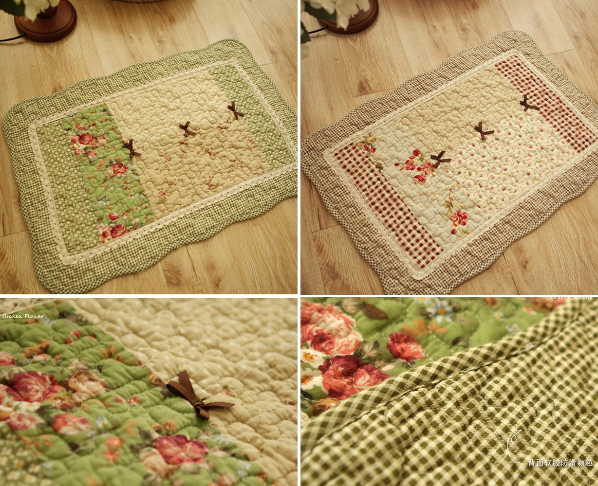 French Country Shabby Chic Cottage Floral Quilted Floor