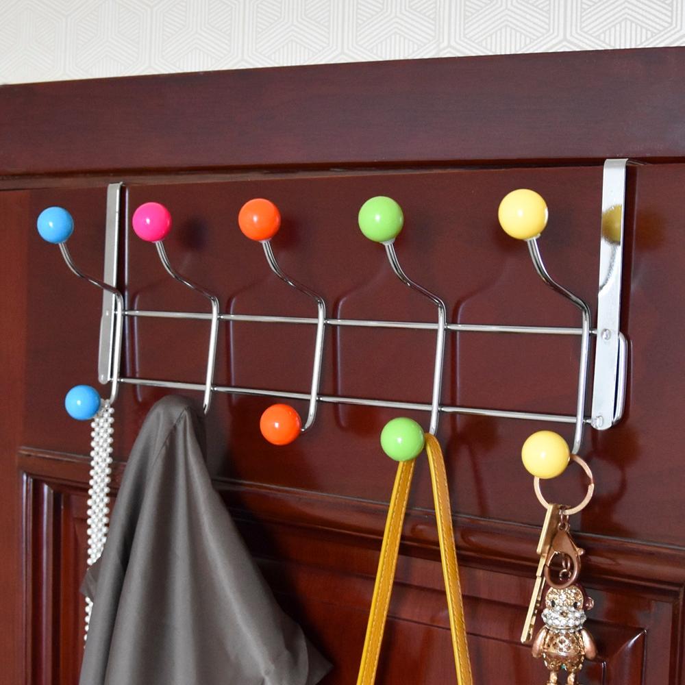 10 multicolor hooks over door clothes bag towel hanger rack wall chrome hangers. Black Bedroom Furniture Sets. Home Design Ideas