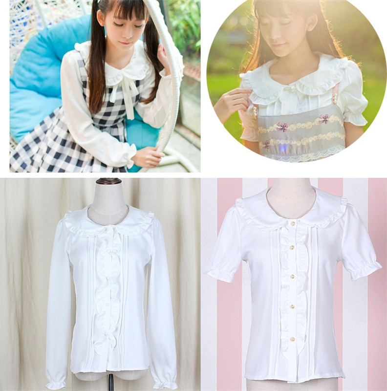 Kawaii Womens Lolita Peter Pan Collar White Blouse Short
