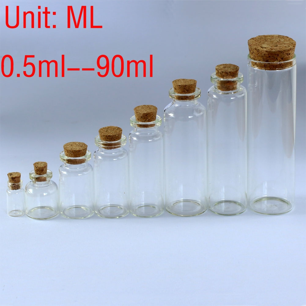 084f097eb5d5 Details about 0.5ML~90ML Clear Glass Bottles Small Vials Jars Sample Empty  Wholesale w/ Corks