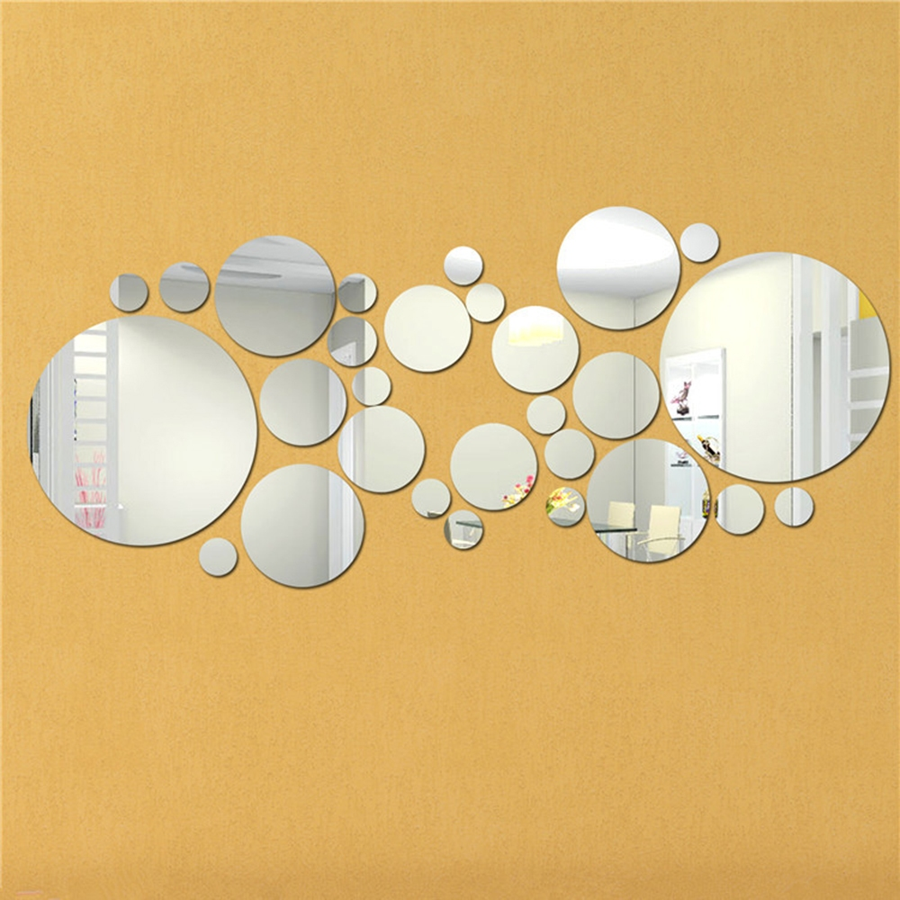 3d 30pcs circle mirror wall stickers acrylic vinyl decal for Circle mirror designs