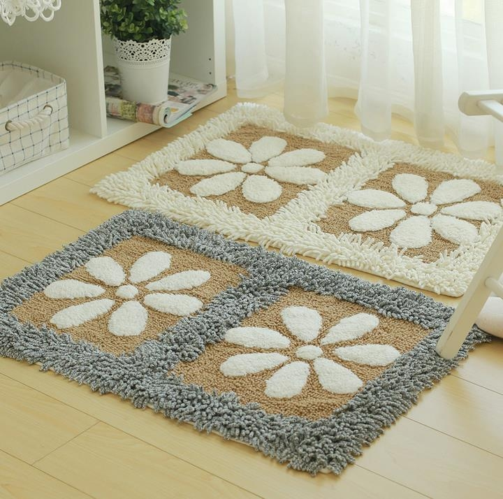 Floral Plush Shag Rug Microfiber Bathroom Bath Mat Floor