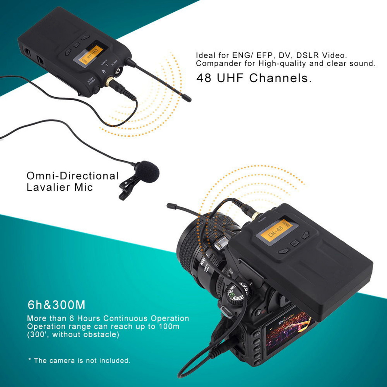 boya by wm6 pro uhf wireless microphone system lavalier for eng efp dslr cameras ebay. Black Bedroom Furniture Sets. Home Design Ideas