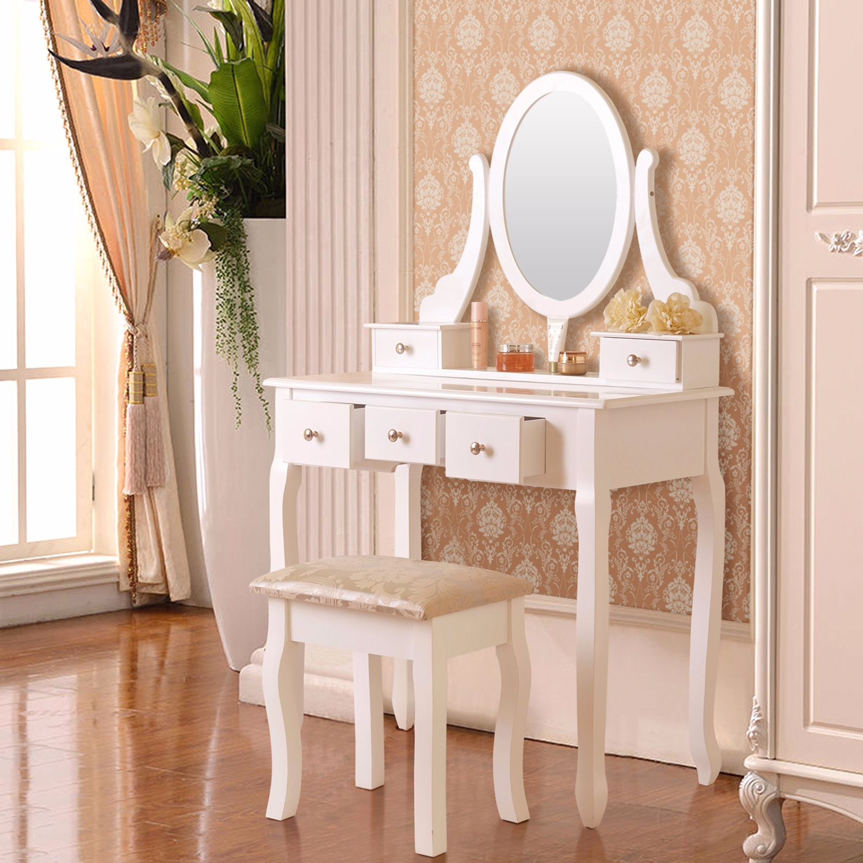 5 Drawer Amp Mirror Makeup Vanity Table Set W Stool Jewelry