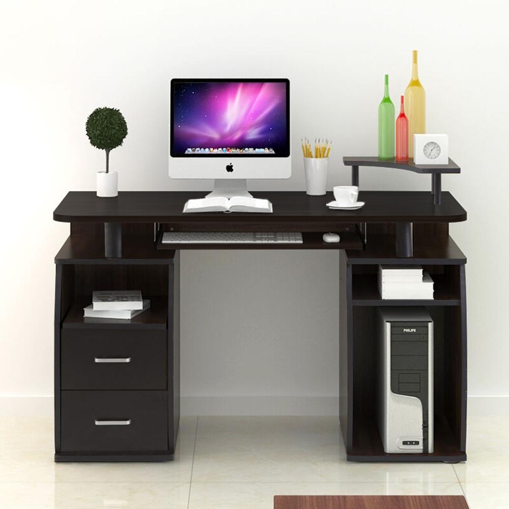 pc computer desk table workstation monitor printer shelf. Black Bedroom Furniture Sets. Home Design Ideas
