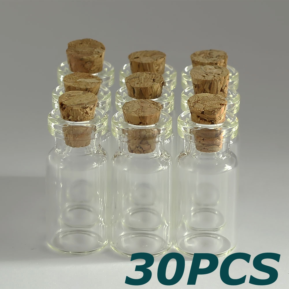 Wholesale lots 30pcs 2ml small empty clear glass bottles for Colored glass bottles with corks