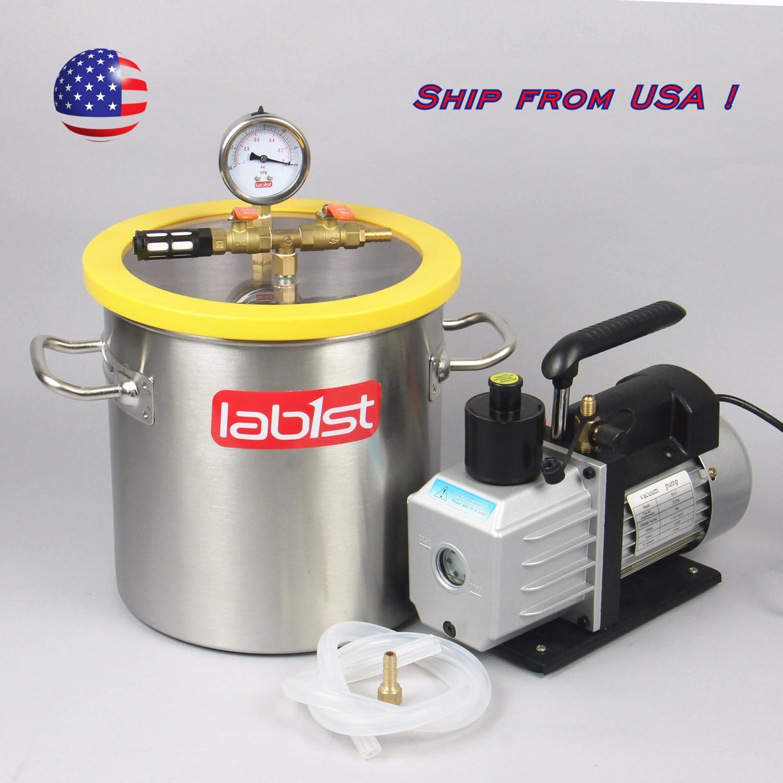 3 Gallon Stainless Steel Degassing Vacuum Chamber 7cfm