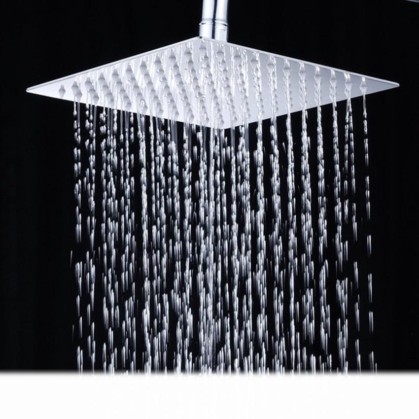 12 edelstahl duschbrause 30x30 cm regendusche kopfbrause regenbrause duschkopf ebay - Quadratische edelstahl designer duschkopf ...