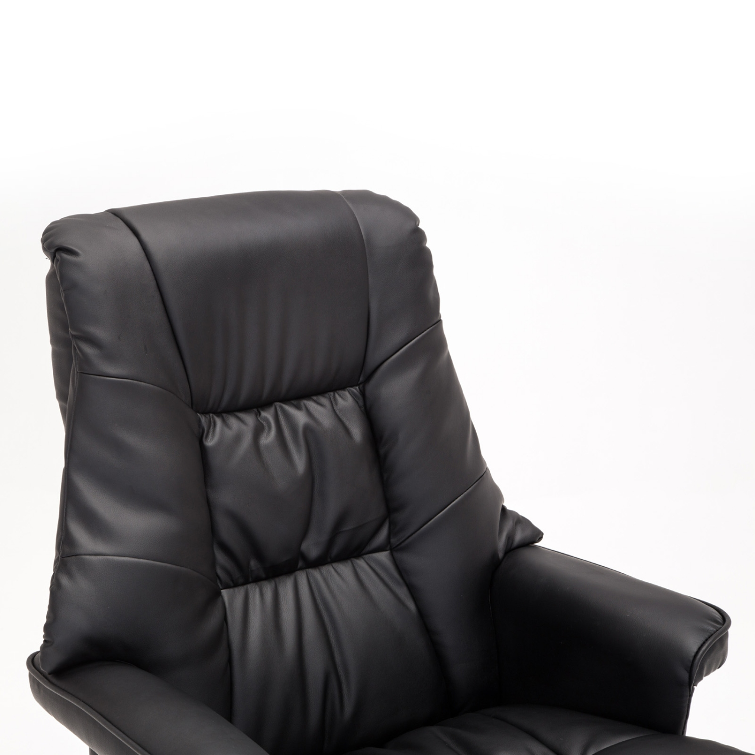 black massage recliner chair leather with foot stool swivel armchair