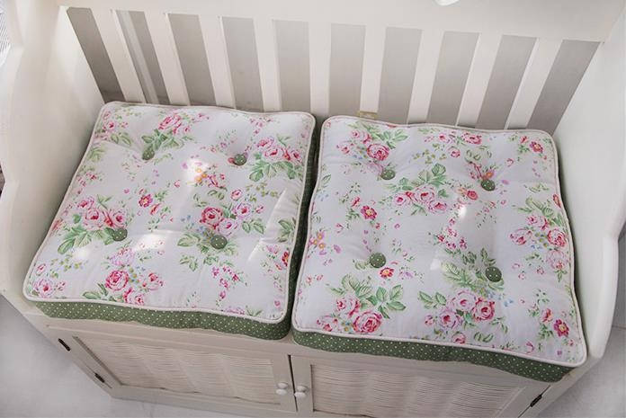 Shabby Chic Chair Seat Pads : Floral Green Quilted Cotton Chair Seat Pad Cushion Country Cottage Shabby Chic eBay