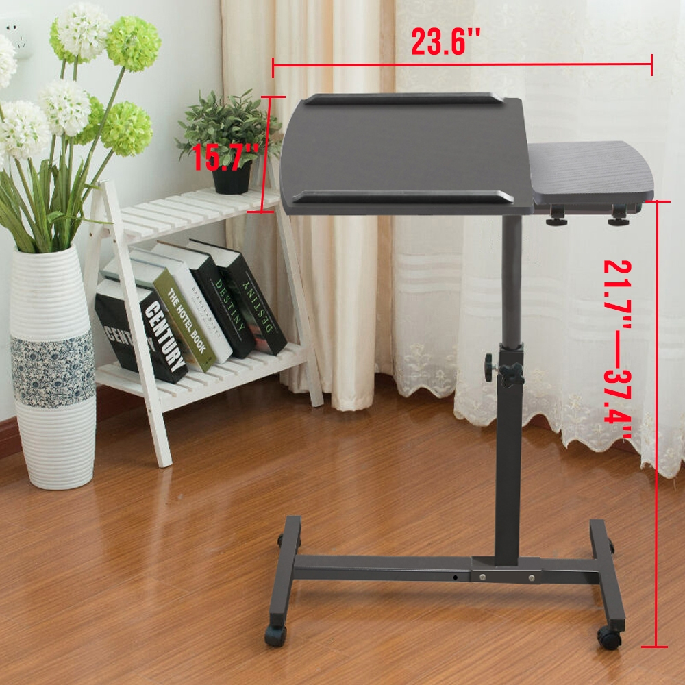 Overbed table food tray non tilt top bed hospital adjustable rolling - Adjustable Rolling Laptop Table Overbed Desk Tilting Tv Food Tray Hospital Pc