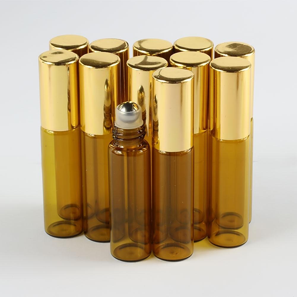 10pcs 5ml Glass Roll On Bottle Amber Empty Steel Metal