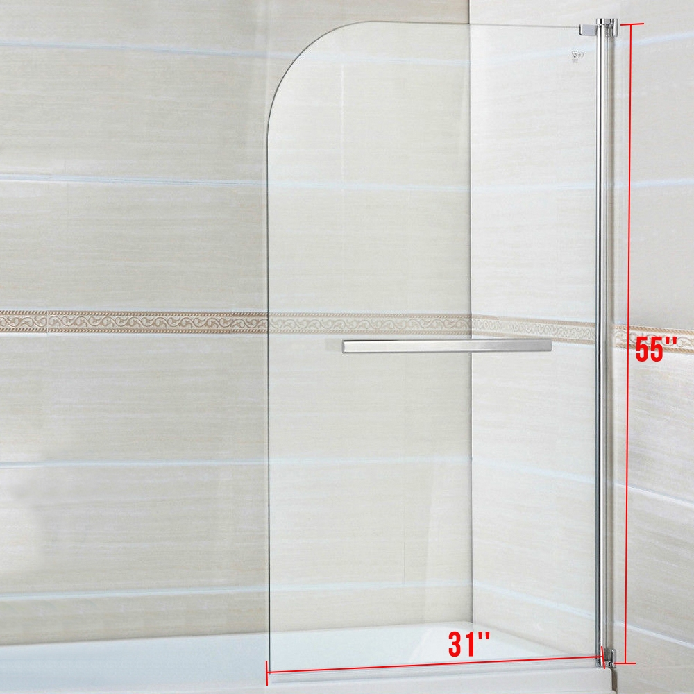 6mm glass 800x1400mm shower screen 180 pivot radius over bath 180 pivot radius frameless glass over bath shower screen door panel rd814c