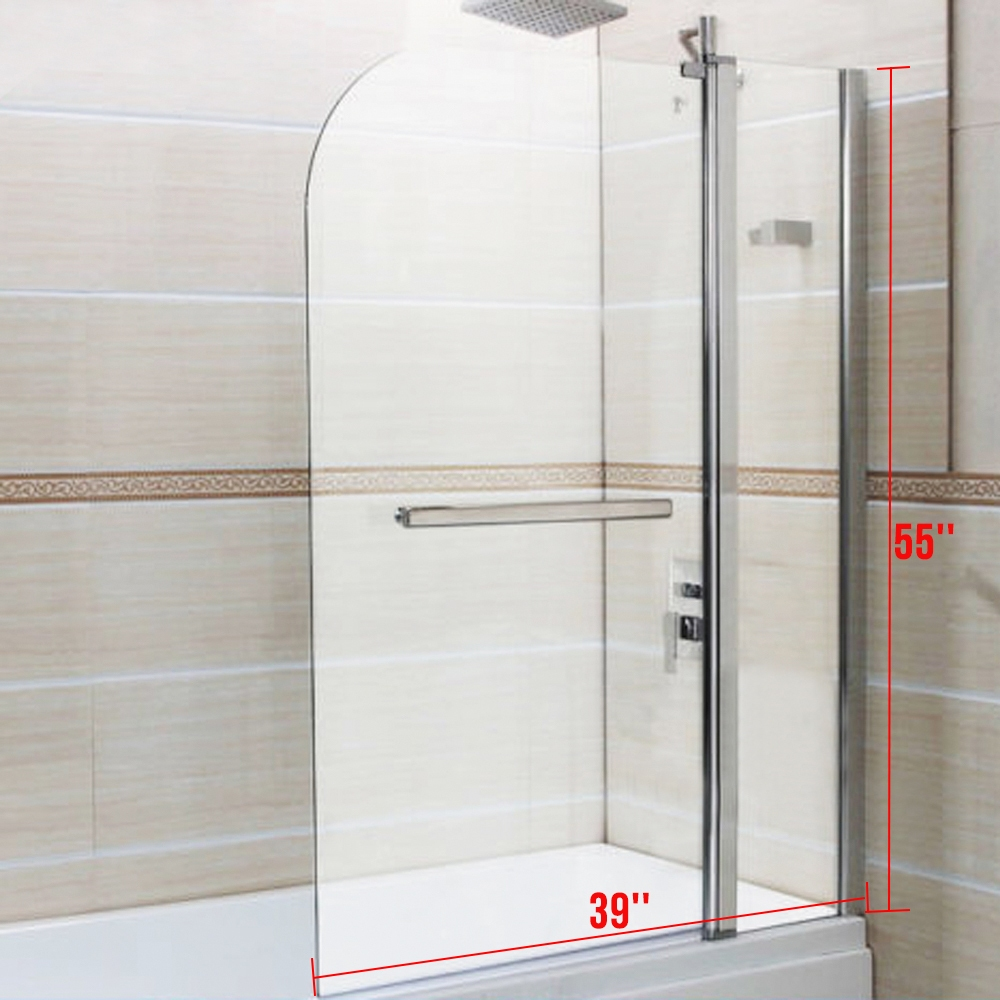 6mm Glass 180 Pivot Double Door Over Bath Shower Screen Door Pannel RD1014A