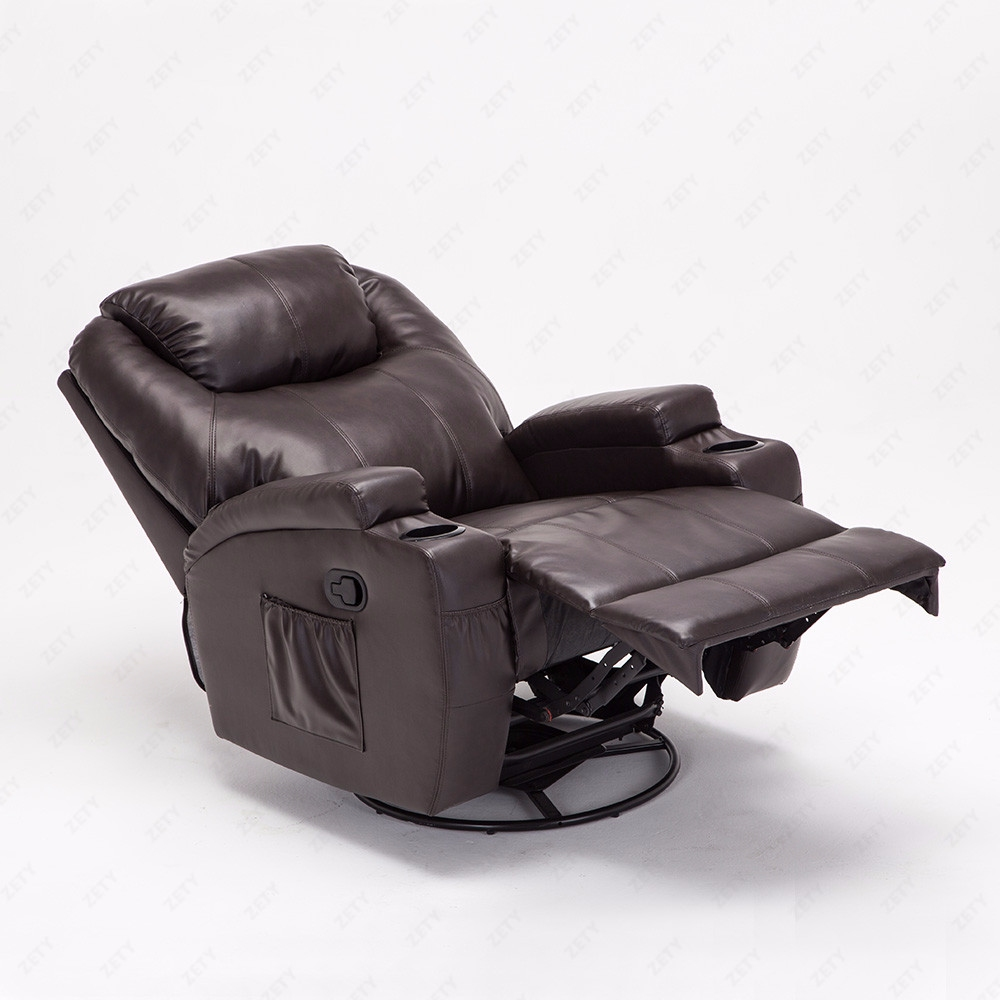 Recliner Massage Chair Real Leather Functional Electric