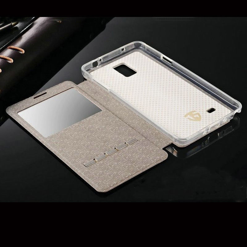 slim flip window view leather smart case for samsung