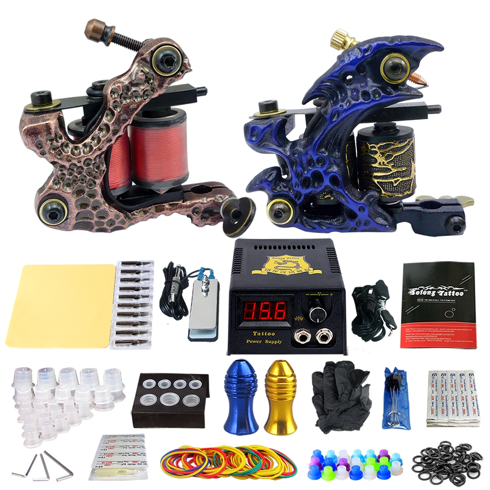 Solong Tattoo Beginner Tattoo Machine Gun Kit LCD Power Supply ...