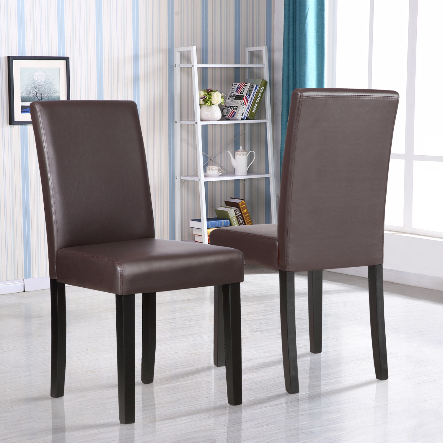 Brown Dining Room Chairs: Set Of 2 Kitchen Dinette Dining Room Chair Elegant Design