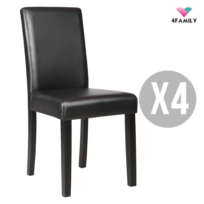 set of 4 dining chair elegant design kitchen dinette room black leather backrest filmkedin. Black Bedroom Furniture Sets. Home Design Ideas