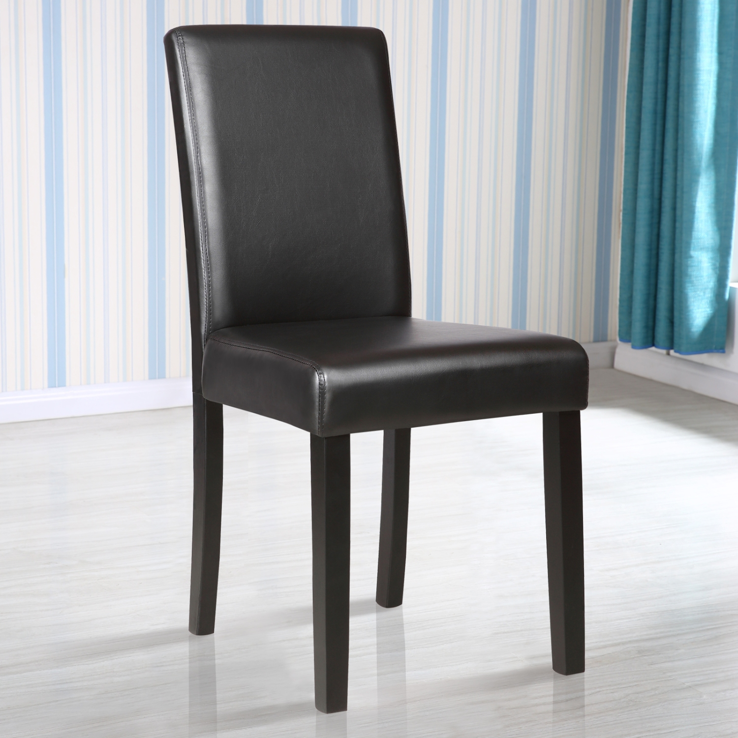 Black Dining Room Chair: Elegant Black Leather Dining Chair Kitchen Dinette Dining
