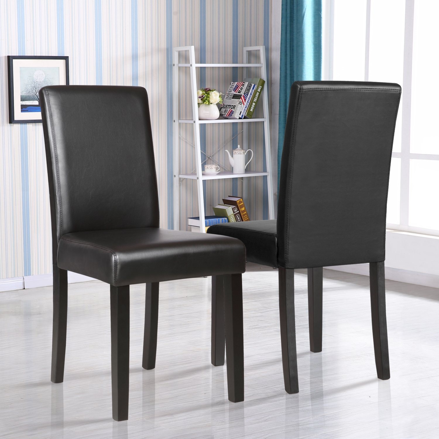 Black Leather Kitchen Chairs: Set Of 2 Kitchen Dinette Dining Room Chair Elegant Design