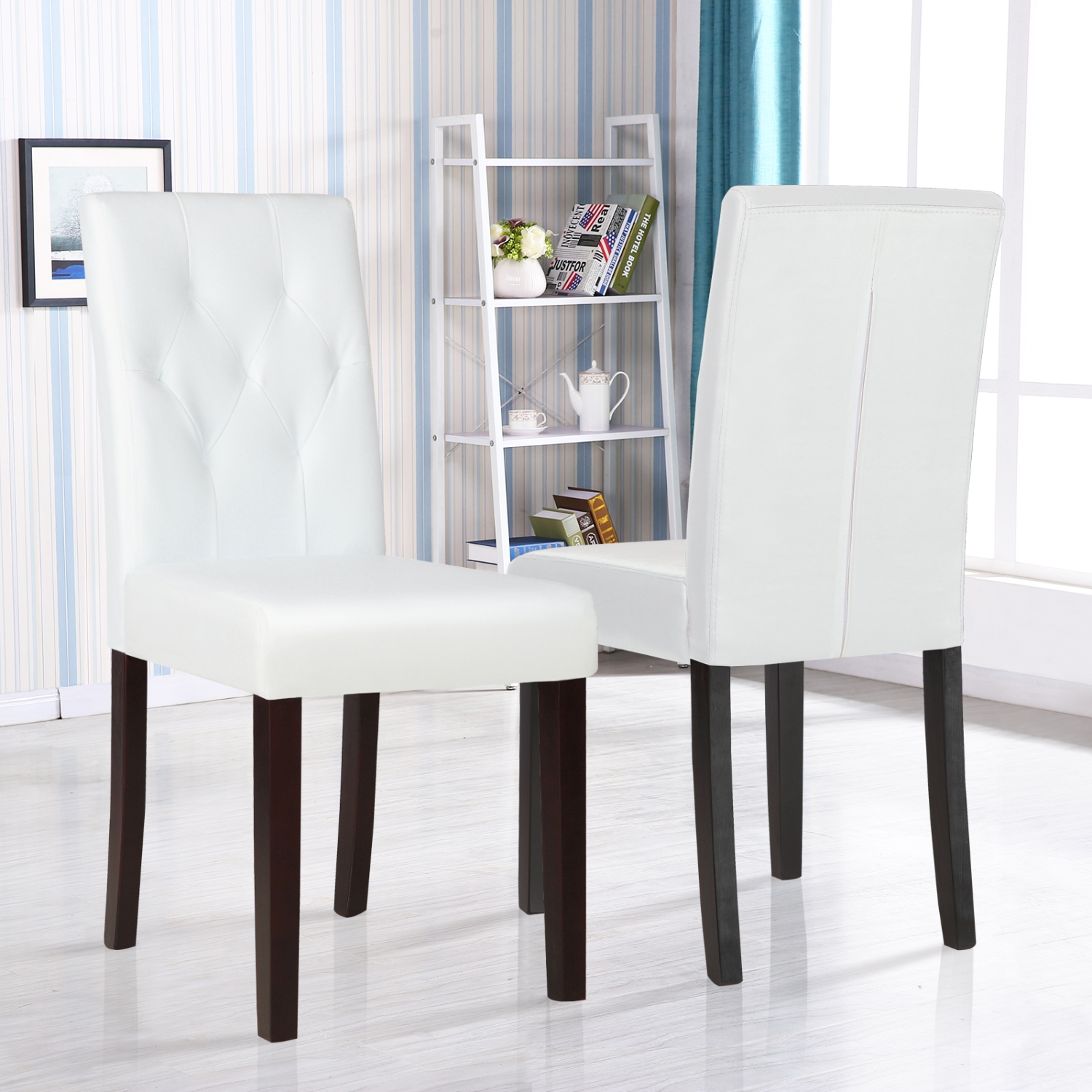 White Leather Dining Room Set: Set Of 2 Ivory White Leather Dining Room Chair Kitchen