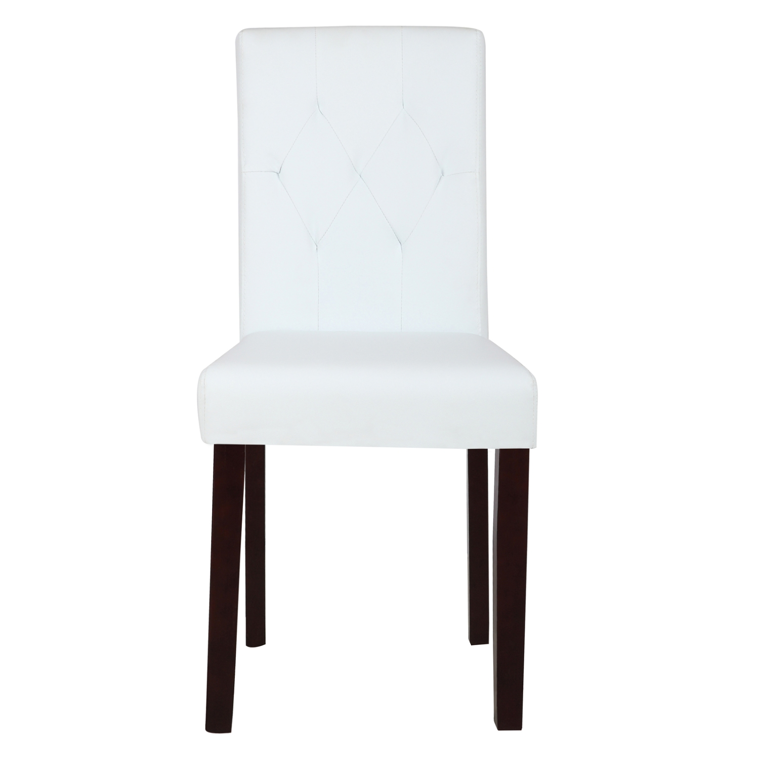 Set of 2 Dining Chair White Leather Kitchen Dinette with Tufted ...