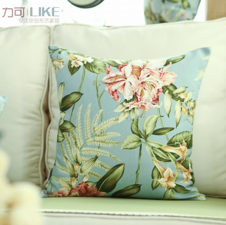Shabby Chic French Country Cottage Floral Blue Throw Pillow Cushion Cover eBay