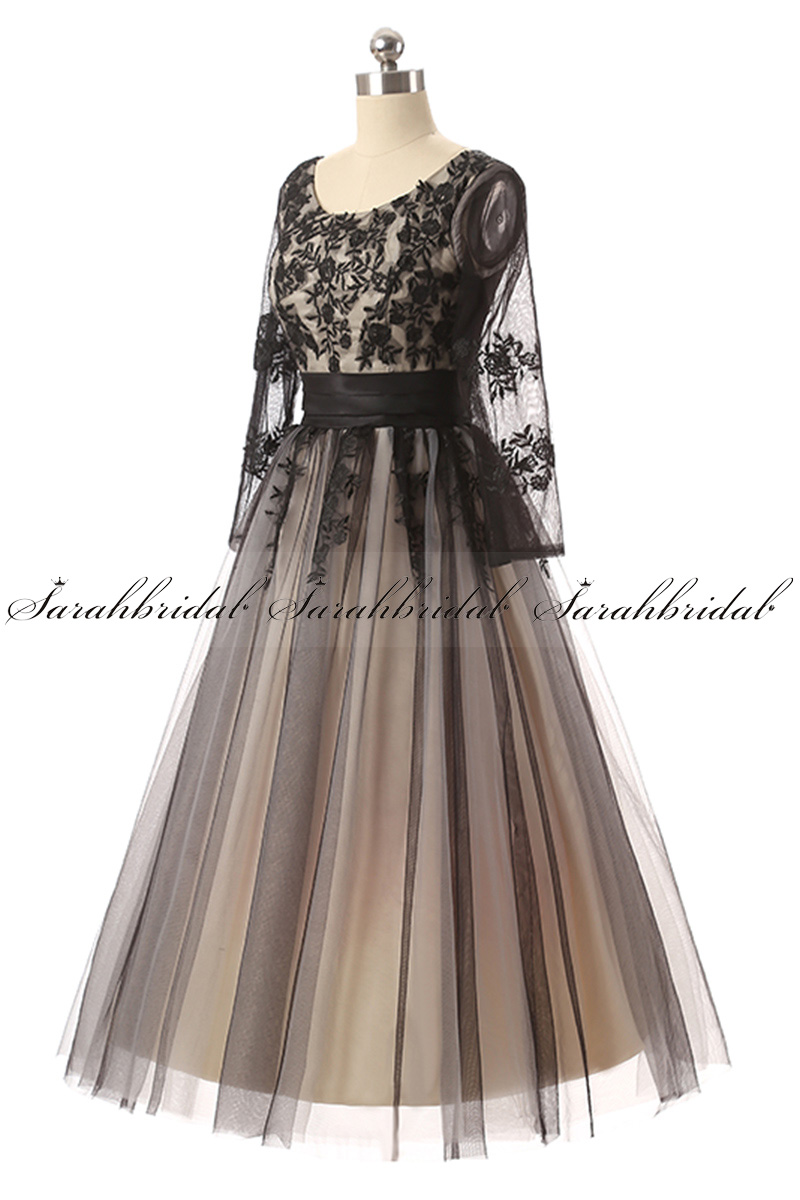 Us Stock Tea Length 3 4 Sleeves Formal Evening Prom Dress