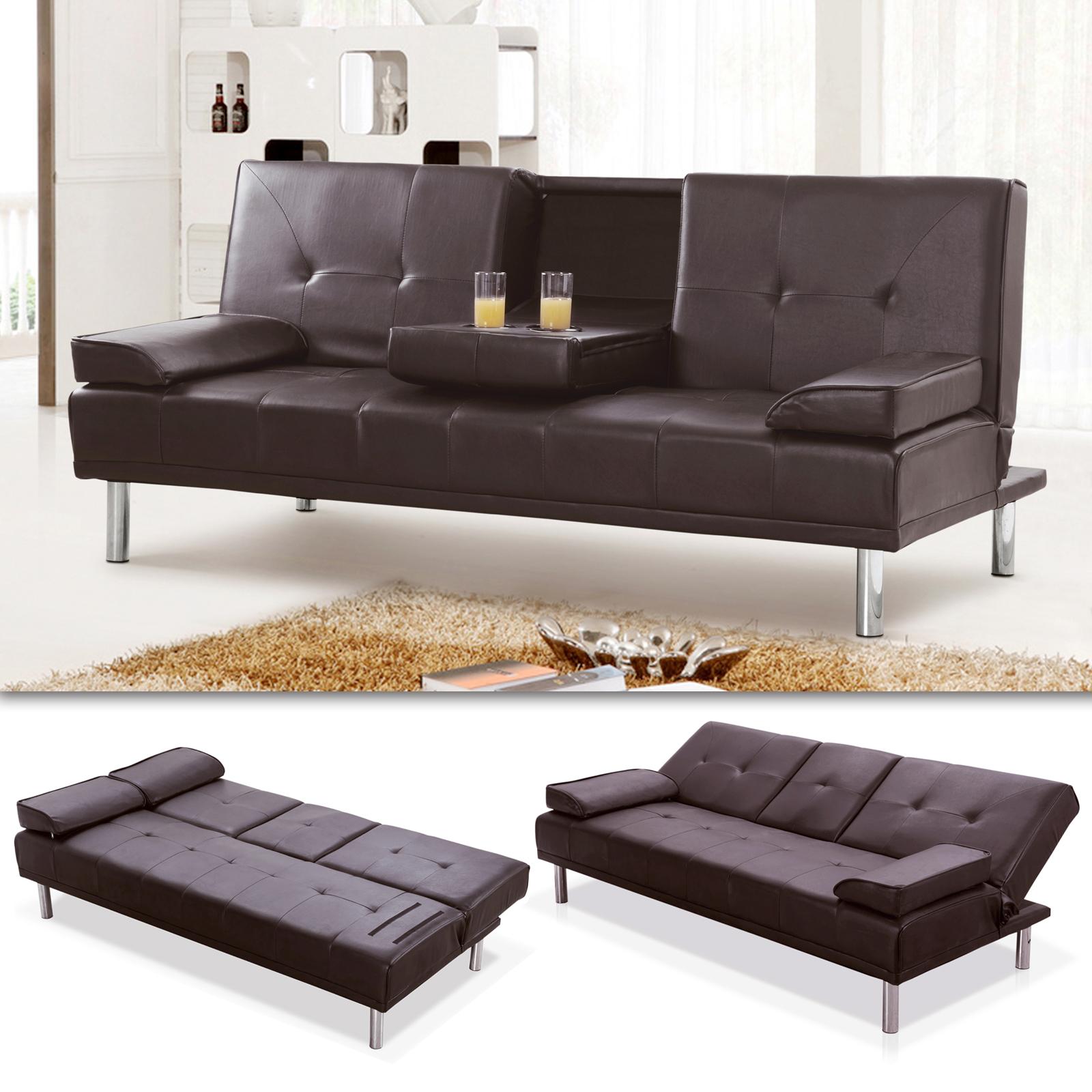 schlafsofa braun kunstleder mit getr nkehalter modernen luxus stil ebay. Black Bedroom Furniture Sets. Home Design Ideas
