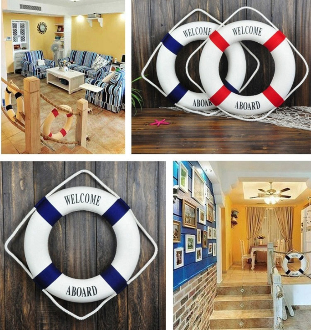 Wall Decorations For Engagement Party : Nautical lifebuoy ornaments decor wedding party home wall
