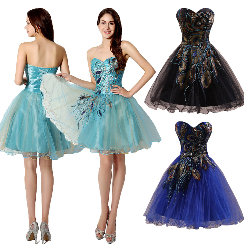 Cheap blue black embroidery short bridesmaid homecoming for Cheap wedding dresses ebay