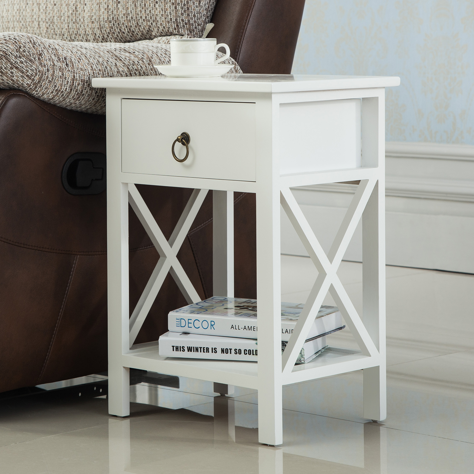 White Wood Sofa End Side Bedside Table Nightstand Storage