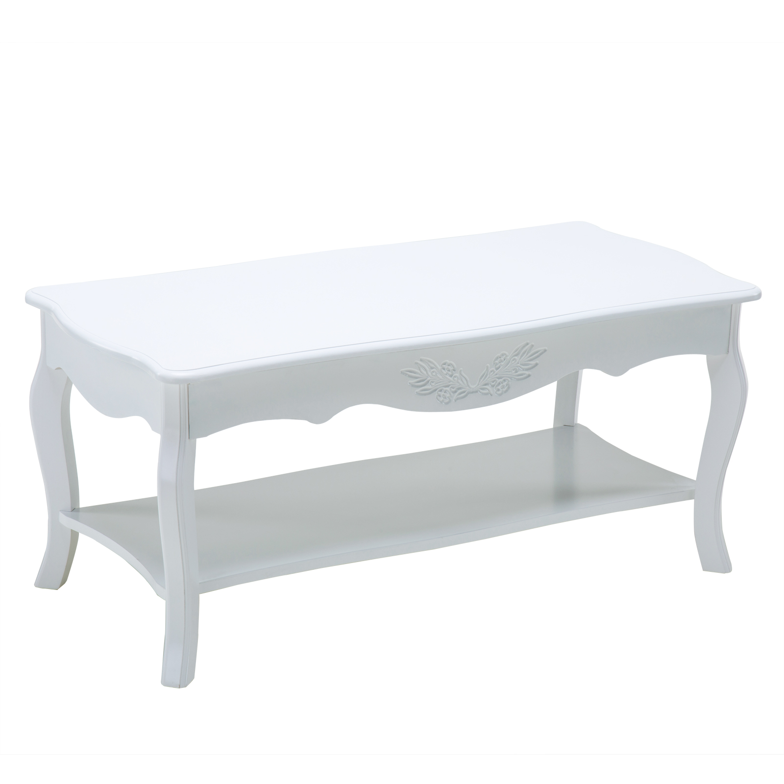 Shabby Chic Corner Coffee Table: Wood Shabby Chic Cottage Coffee Table W/Bottom Shelf