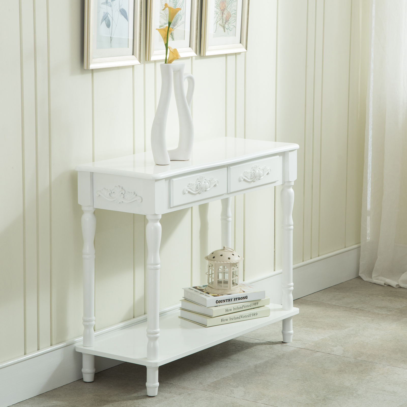 distressed console white table wood buffet entry hall table chic shabby table. Black Bedroom Furniture Sets. Home Design Ideas
