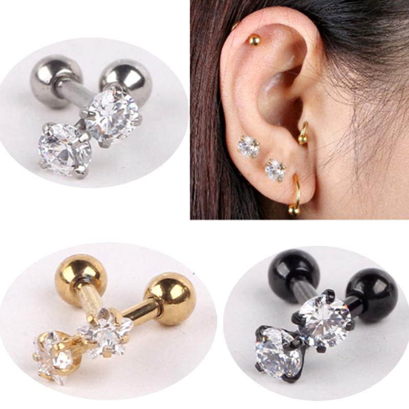 paire 16g boucle d 39 oreille cartilage tragus cz gemme helix stud piercing oreille ebay. Black Bedroom Furniture Sets. Home Design Ideas